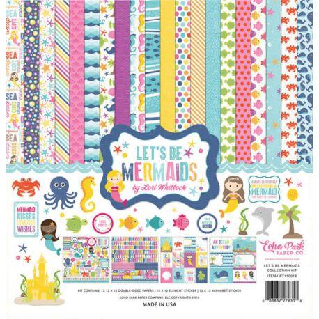 Let's be Mermaids precioso kit para scrapbook con sirenitas y su mundo fantástico de la marca Echo Park