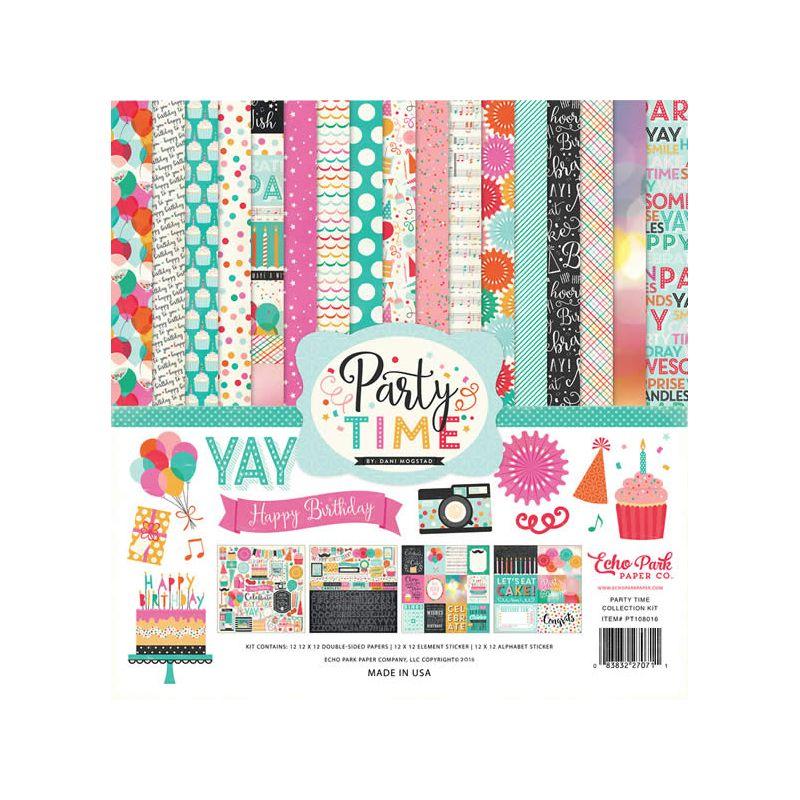 Kit para scrapbooking con temática cumpleañera e la marca Echo Park modelo Party Time
