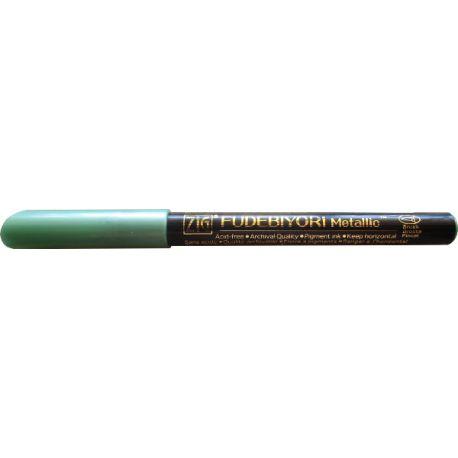 Rotulador punta flexible y acabado metalizado FUDEBIYORI METALLIC Green
