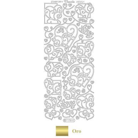 Peel Off - Corazones Doodle Oro