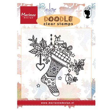 Sello Acrílico Doodle Calcetín Navideño de Marianne Design