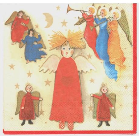 Servilleta decorativa para decoupage realizada en celulosa de tres capas. Modelo: ilustraciones de ángeles