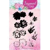 Set Sellos Acrilicos Capas Flores 1