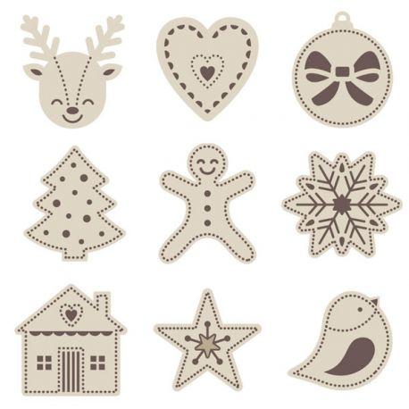 Mini siluetas de madera Navidad