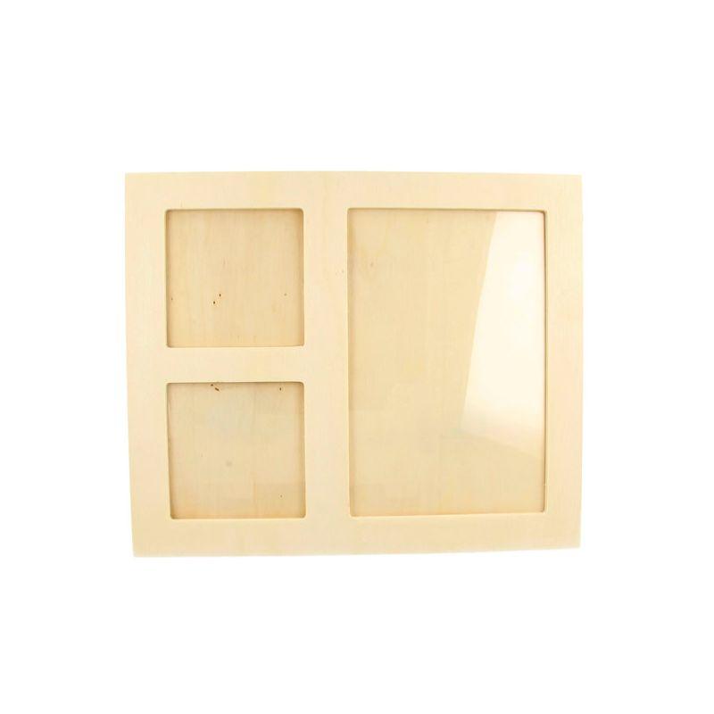 Marco fotos en madera bruta con 3 ventanas | CreActividades