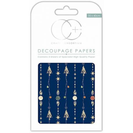 Papeles Decoupage Blue Ornaments