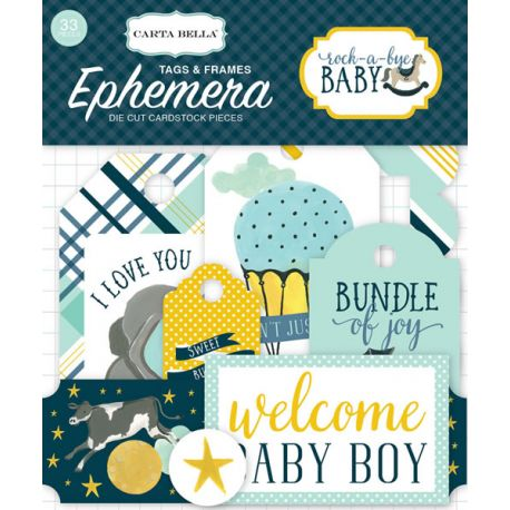 Rock-a-Bye Boy Frames & Tags Ephemera