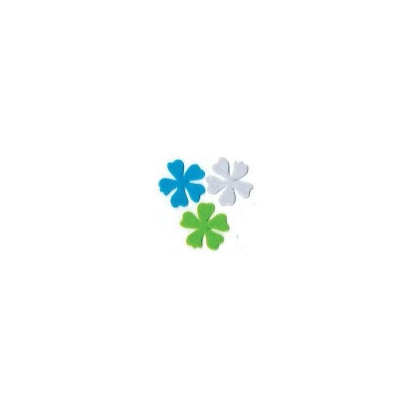 6 Flores Blanco Verde Turquesa (6cm)