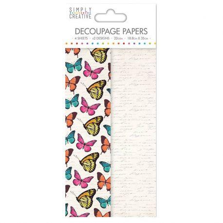 Papel Decoupage Vibrant Butterflies