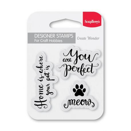Sellos acrílicos silicona transparentes - Meow gatitos Scrapberry's