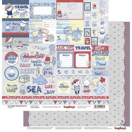 Cartulina decorada para scrapbooking Zoe and Ziggy de Scrapberrys - Anchors Away