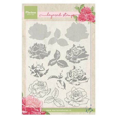 Set sellos acrílicos capas Rosas
