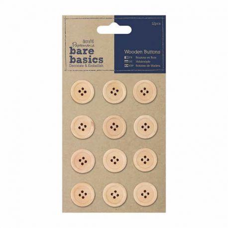 Botones realizados en madera sin tratar y cuatro orificiosBare Basics