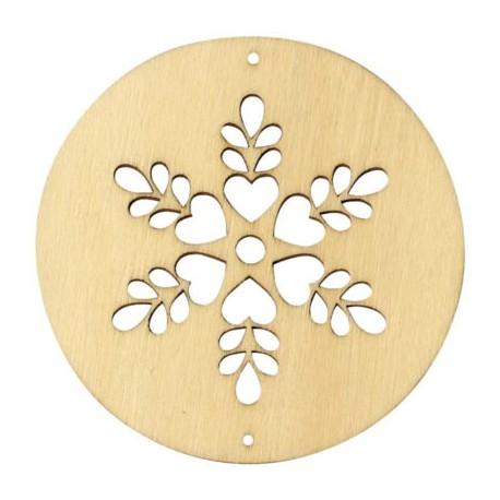 Círculos madera para movil - copo flor