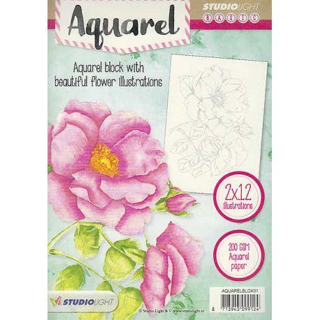 Bloc Acuarela para colorear - Flores 1