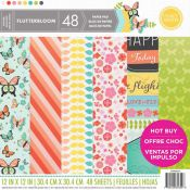 Bloc de cartulinas estampadas para scrapbooking 30x30 Craft Smith Flutterbloom