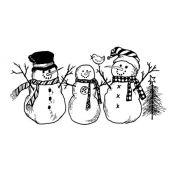 Sello caucho 3 muñecos de nieves