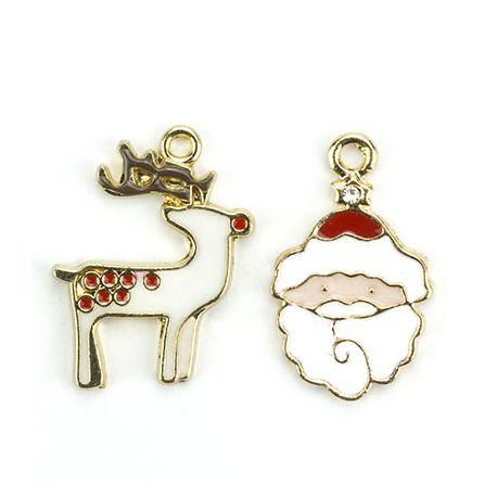 Charms o colgantes metálicos - Papá Noel y Reno Blanco