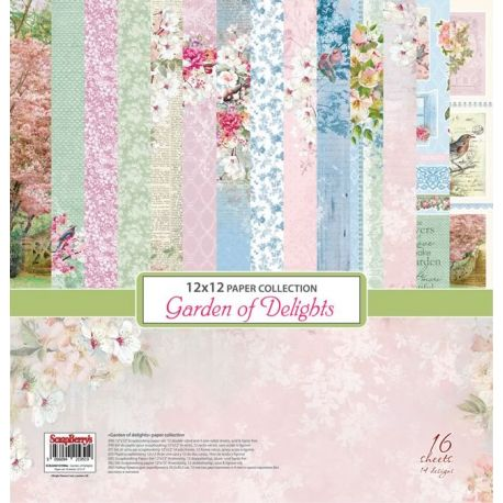 Set de papeles para scrapbooking Garden of Delight Paper Set 30x30 de Scrapberry's