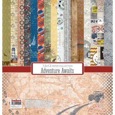 Surtido de papeles estampados para scrapbooking Adventure Awaits Paper Set 30x30 de Scrapberry's
