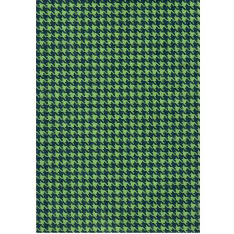 Fieltro estampado - Pata de Gallo verde/marino