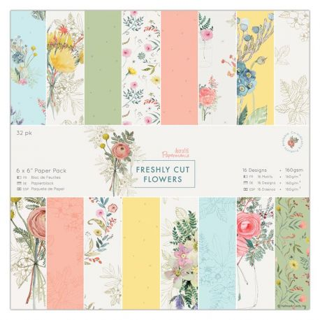 Papermania Freshly Cut Flowers - Papeles scrapbooking 15x15 PMA 160330