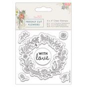 Papermania Freshly Cut Flowers - Sellos Floral Wreath PMA 907264