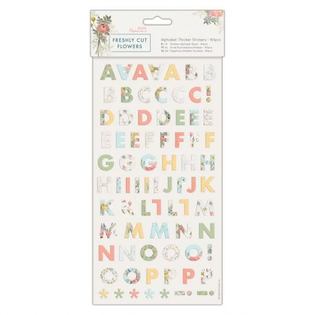 Papermania Freshly Cut Flowers - Pegatinas alfabéticas de cartón PMA 351752