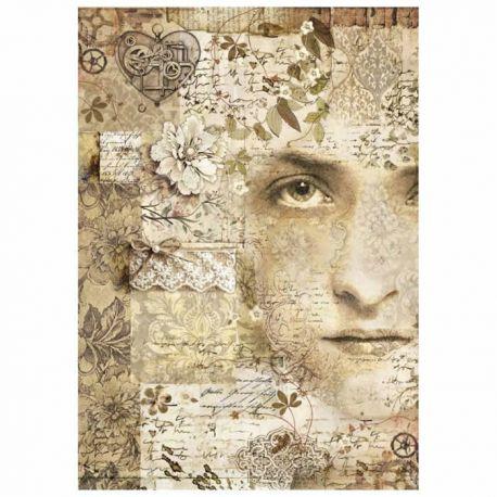 Stamperia Papel de Arroz para decoupage Old Lace Face (DFSA4266)