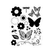 Artemio Sellos acrílicos transparentes Mariposas y Flores (10001005)