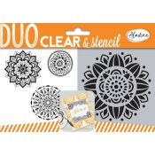 Aladine Duo Clear Stamps & Stencil Mandalas - set de sellos y stencil