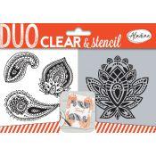 Aladine Duo Clear Stamps & Stencil Paisley - set de sellos y stencil