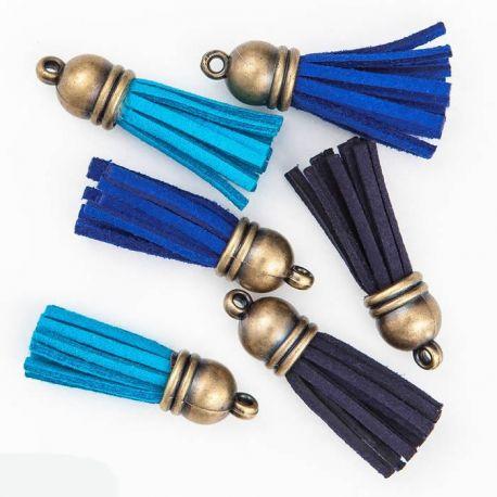 Set de borlas de falso cuero vuelto en tonos azules