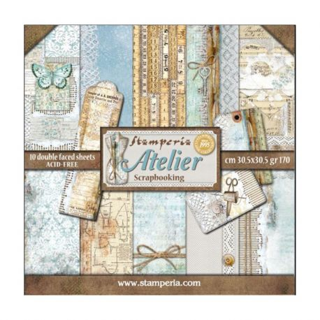 Stamperia Papeles estampados para scrapbooking colección Atelier (SBBL31)