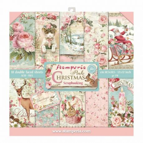 Stamperia Papeles estampados para scrapbooking colección Pink Christmas (SBBL46)