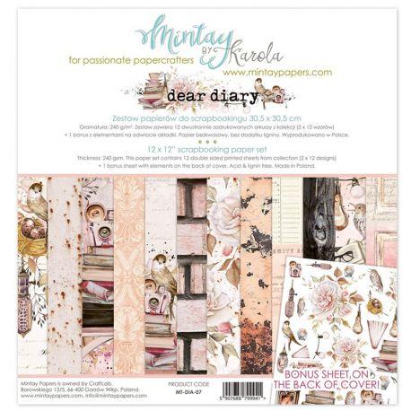 Mintay Papers - Dear Diary Scrapbooking Paper Pad 30x30 | CreActividades