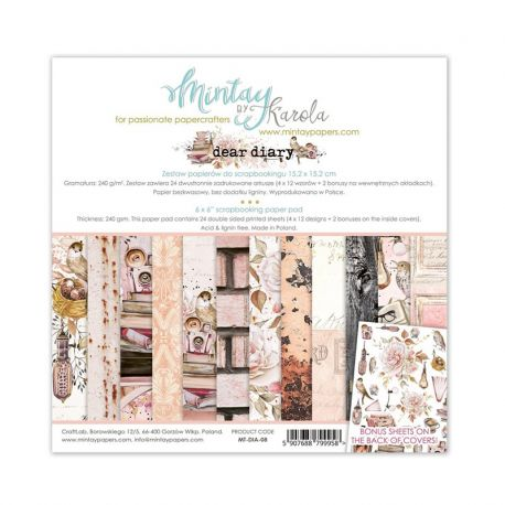 Mintay Papers - Dear Diary Scrapbooking Paper Pad 15x15 | CreActividades