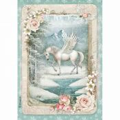 Stamperia Papel Arroz A4 Unicornio y Nieve