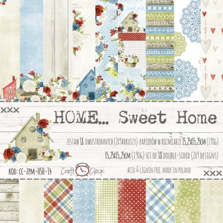 Craft O'Clock - Papel para scrapbooking Home Sweet Home Set de 15x15