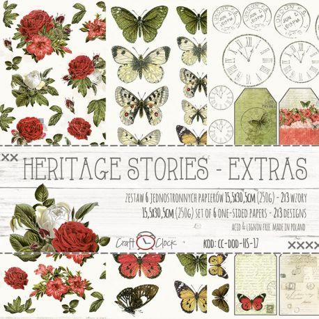 Craft O'Clock - Papel para scrapbooking Heritage Stories Set de 15x30
