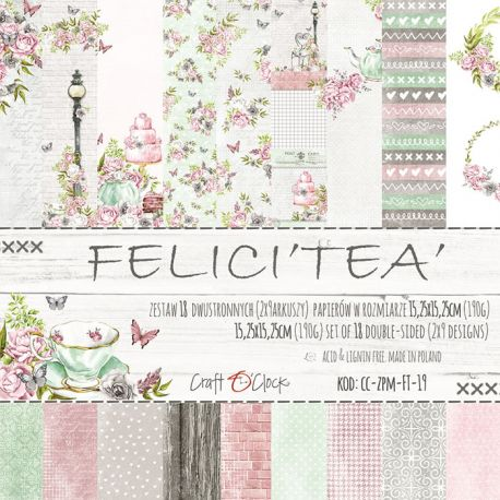 Craft O'Clock - Papel para scrapbooking Felici Tea Set de 15x15