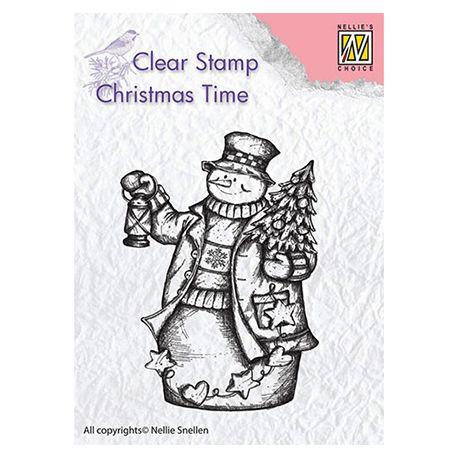 Nellie's Choice - Sello de silicona transparente Snowman Lantern