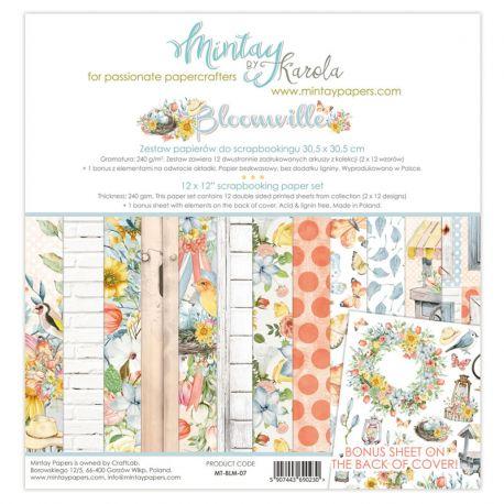 Mintay Papers - Bloomville Scrapbooking Paper Pad 30x30 | CreActividades