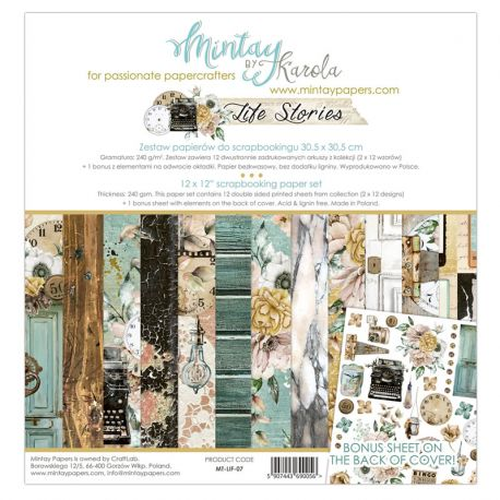 Mintay Papers - Life Stories Scrapbooking Paper Pad 30x30 | CreActividades