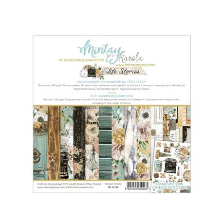 Mintay Papers - Life Stories Scrapbooking Paper Pad 15x15 | CreActividades