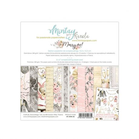 Mintay Papers - Marry Me! Scrapbooking Paper Pad 15x15 | CreActividades