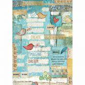Stamperia Papel de Arroz para decoupage Writings Little Birds & Hearts (DFSA4333)