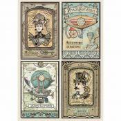 Stamperia Papel de Arroz para decoupage Voyages Fantastiques Cards (DFSA4368)