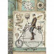 Stamperia Papel de Arroz para decoupage Voyages Fantastiques Retro Bicycle (DFSA4371)
