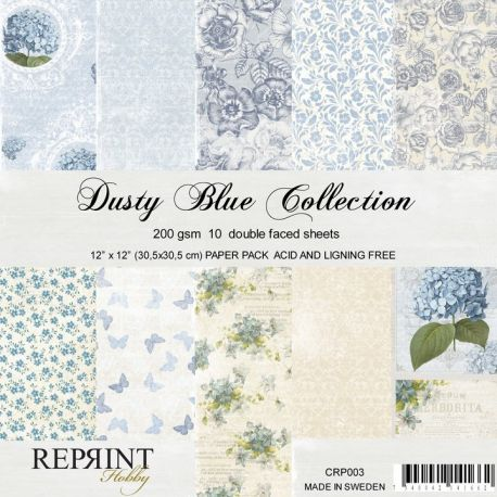 Reprint - Set de cartulinas para scrapbooking Dusty Blue (CRP003)